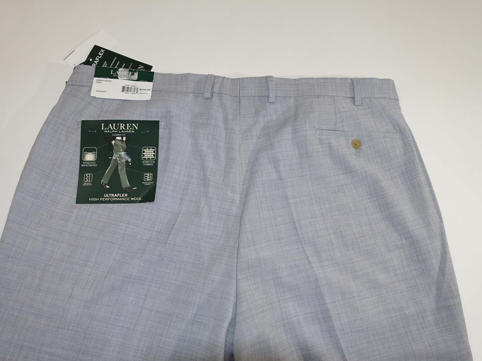 Lauren Ralph Lauren Ultraflex Dress Pants 36 x 34 NWT Light Gray Wool Slacks LRL